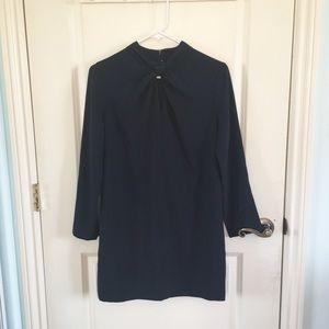 Aspesi   Dark Blue Shift Dress w/ Twist Keyhole